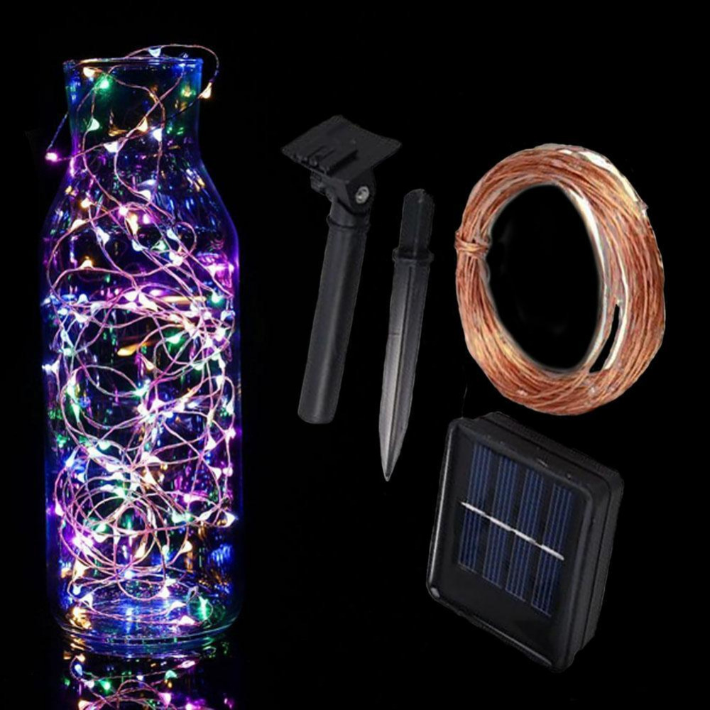 Upgrade 10M 33ft 100 led Solar Powered Copper Wire String Light Chain For Christmas Festival Wedding Party Decor Fairy Lamp