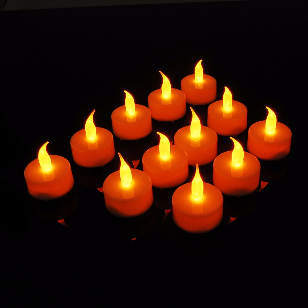 Lumiparty 12pcs Yellow Led Candles for Wedding Decoration Velas without Candle Holders Electronic Fameless LED Candle Nightlight