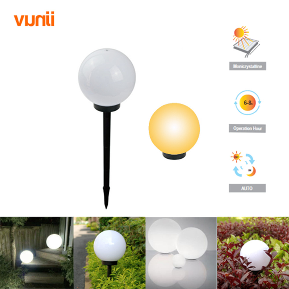 Yunji IP65 LED Solar Garden Ball Light Solar Powered Lawn Lamp with Light sensor for Path Garden Outdoor Holiday Deco