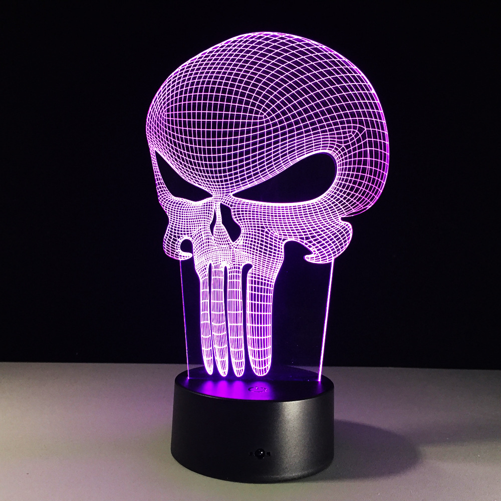 3D LED Color Night Ligh Changing Lamp Punisher Skull Multi-colored Bulbing Light Acrylic 3D Hologram Illusion Desk Lamp For Kids