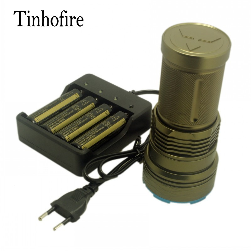 Tinhofire ArmyGreen/Black 20000 lumens 12 x CREE XM-L T6 Portable Led Flashlight Hunting Lamp Torch G12+battery+4slot charger