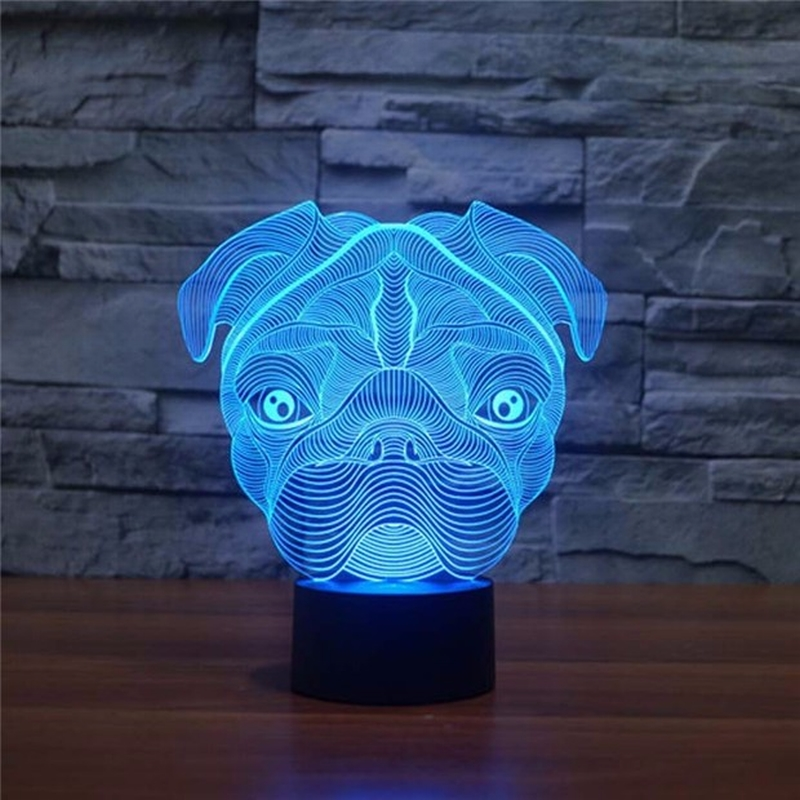 3D LED Cute Pug Dog Night Light Baby Animal Lights Table Lamps For Home Decor Christmas Promotional Gifts For kids Children