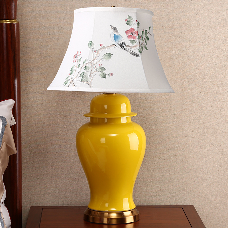 High End Classical Elegant Hand Painted Yellow Chinese Ceramic Fabric E27 Table Lamp For Living Room Bedroom Study H 67cm 1292