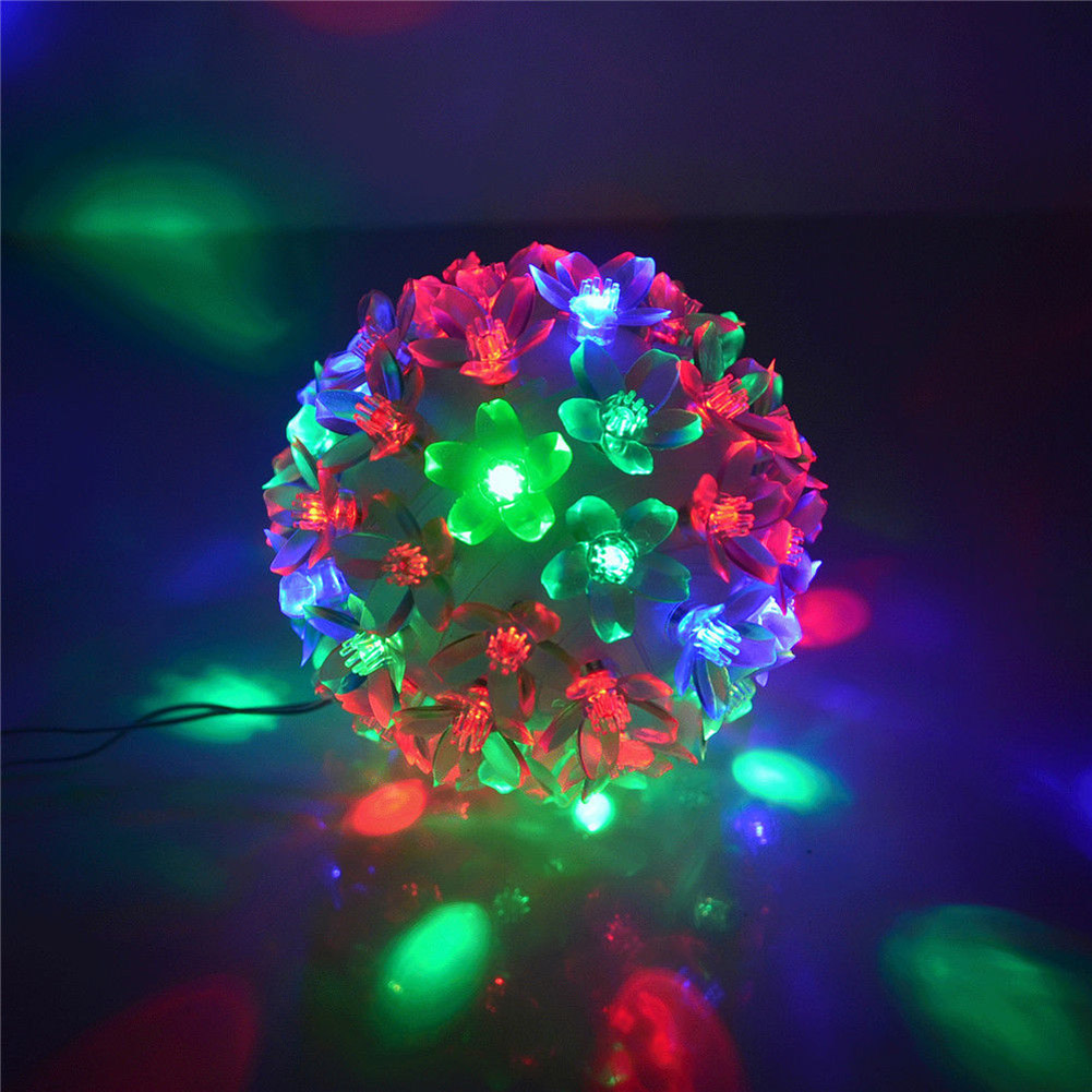 50 LED RGB Christmas Tree Decoration Light Colorful Flowers Ball Fairy Light Flash Lamp For Party Wedding Festival