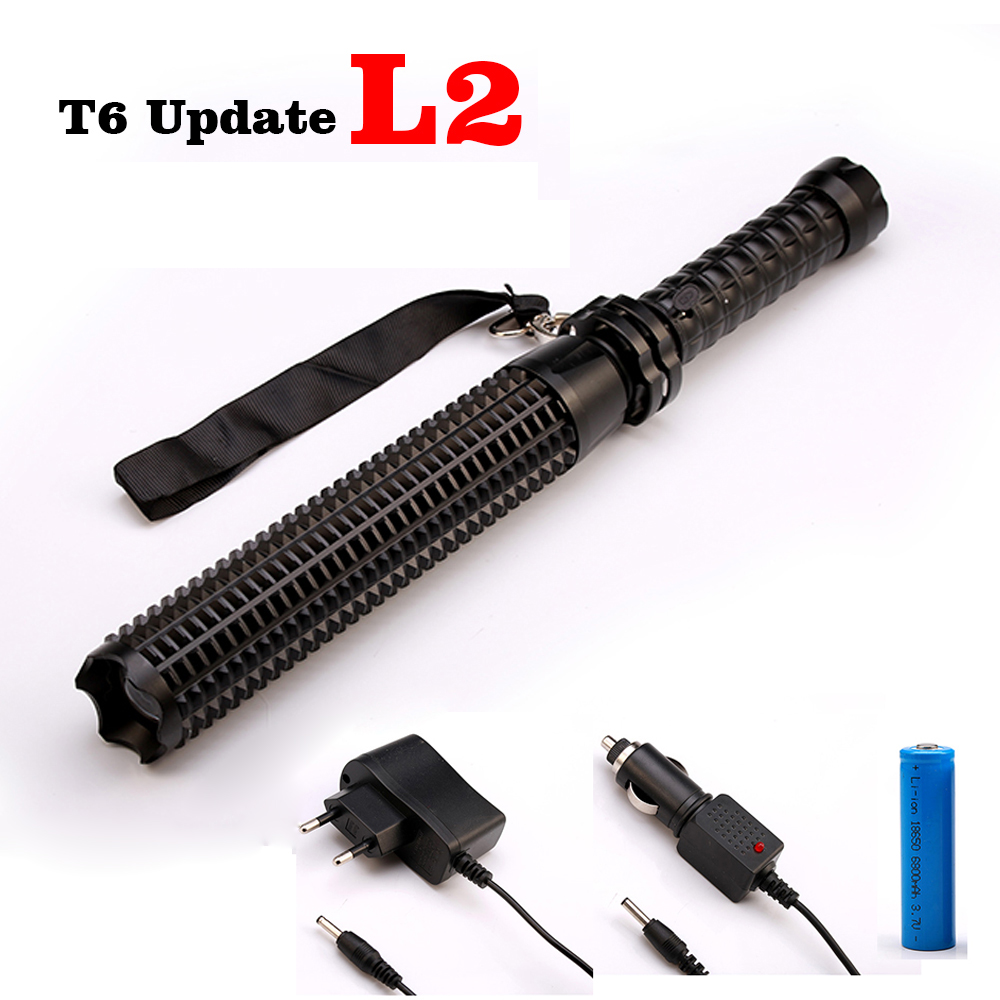 Self Defense 6000LM Telescope CREE XM-L L2/T6 LED Flashlight Torch Tactical Baseball Bat Baton Fash Light Lanterna for 18650