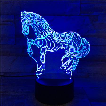 Acrylic Zebra 3D Lamp USB Novelty Gifts 7 Color Changing Animal Horse Led Night Lights 3D LED Desk Table Lamp as Home Decoration