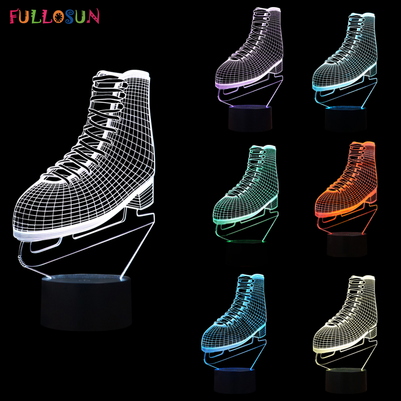 Interesting 3D Illusion Night Lamp LED Ice Skates Shape Lights with USB Sensor Button LED Lamp as Friends Gifts & Home Decoratio