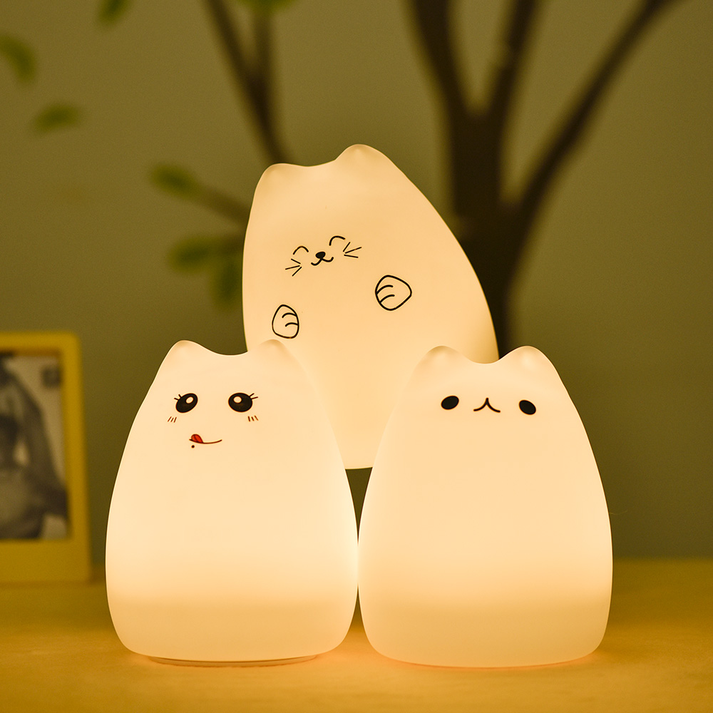 Lumiparty USB rechargeable Cute Led Cat Light Color Changing Silicone Cat Night Lights Tap Control Xmas Bedroom Children Night