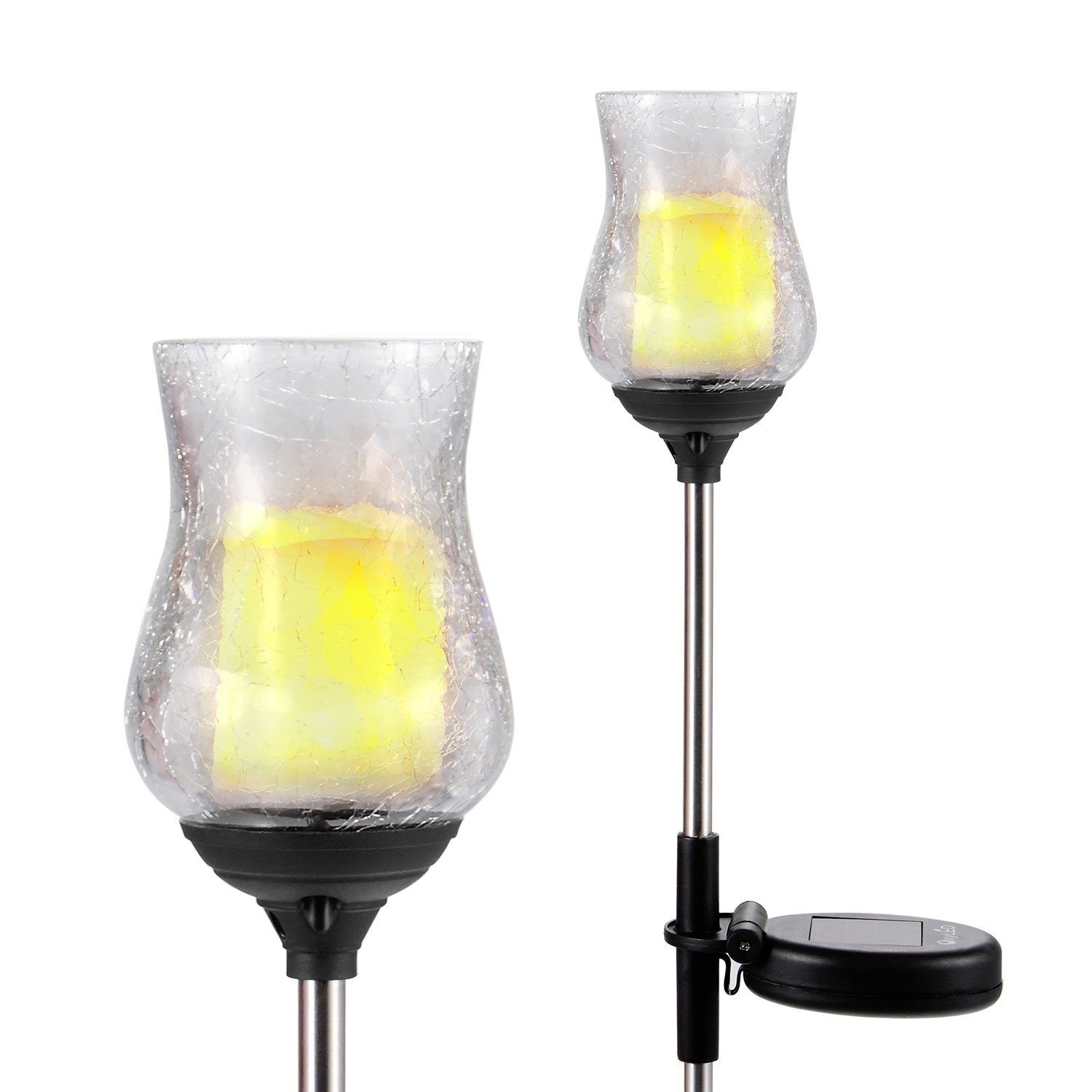Crackle Glass Glickering Candle LED Solar Garden Light Outdoor Solar Power Lawn Light with Light Sensor Warm White Porch Light