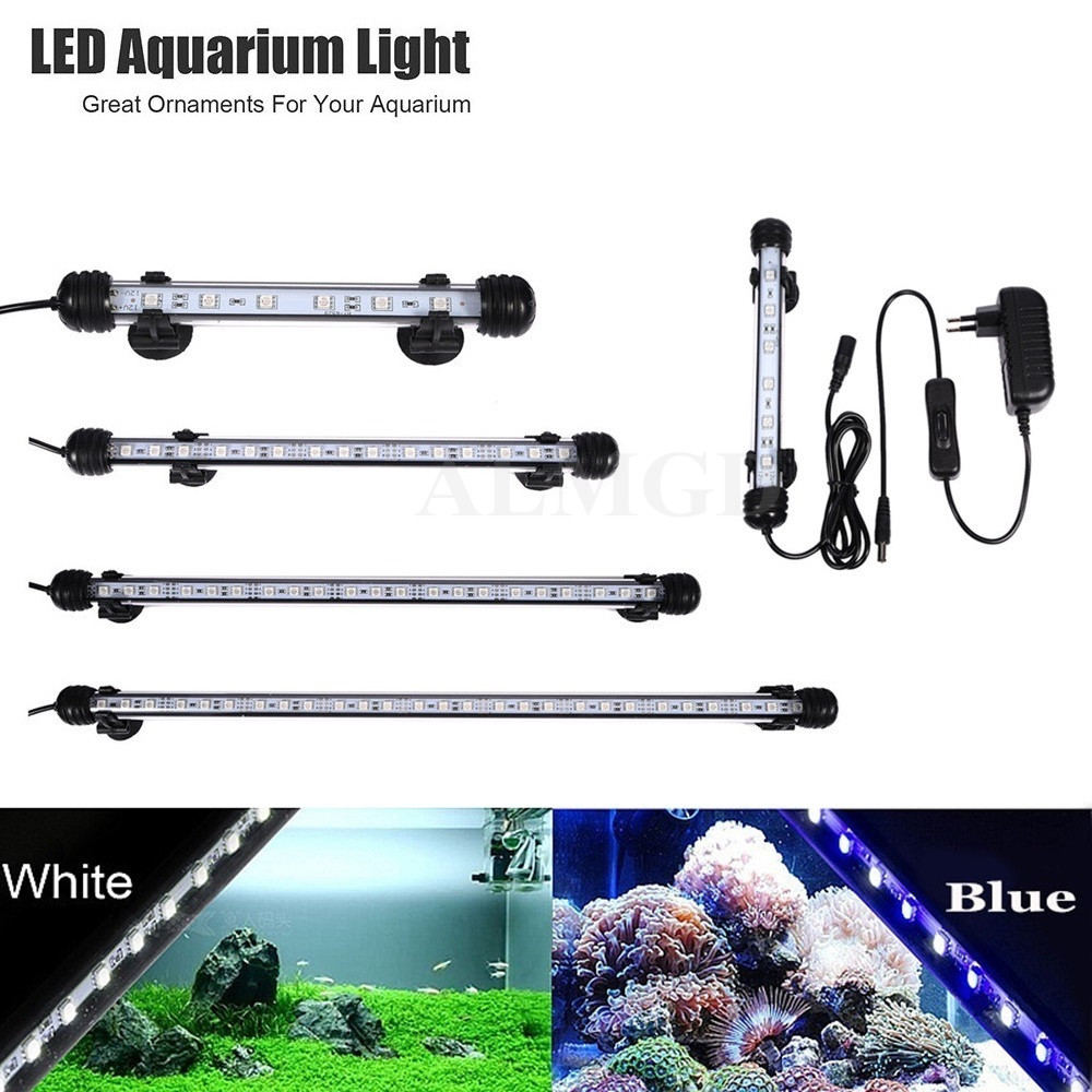 EU US PLUG Aquarium LED Light Fish Tank White Blue Waterproof IP68 5050 SMD LED Bar Light Lamp Submersible 18CM 28CM 38CM 48CM