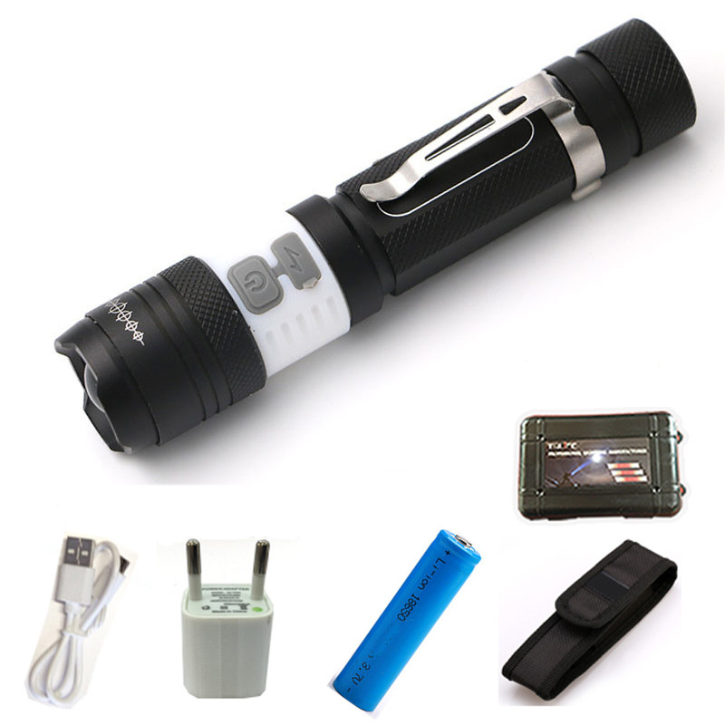 Powerful LED CREE XML T6 USB led Flashlight Torch Waterproof Flash Light portable Light Rechargeable Lantern for 1*18650 Battery