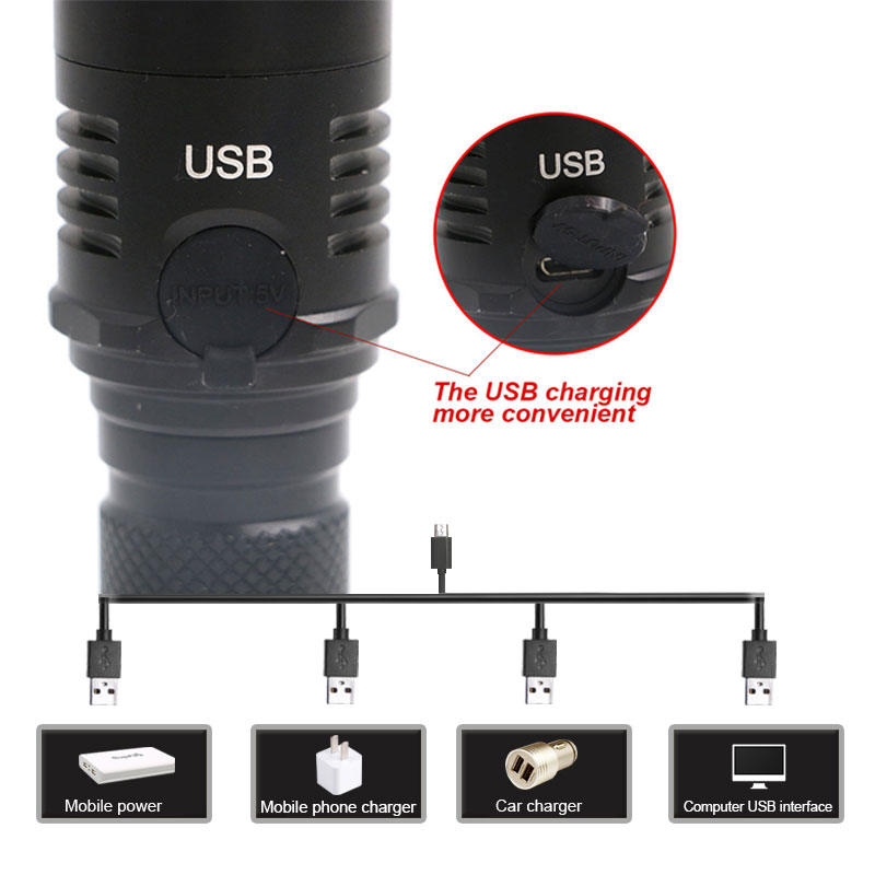 USB Charging Zoomable Lantern CREE L2 Powerful LED Flashlight Waterproof Torch Aluminum Alloy Outdoor Camping Hiking Torch --M25