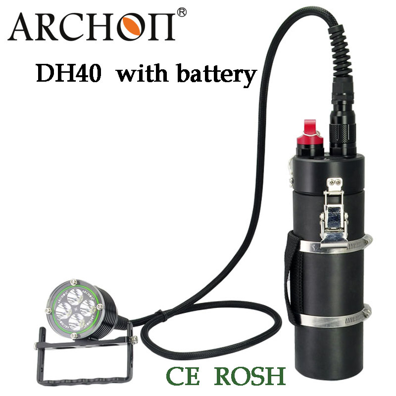100% Original Archon DH40  WH46 Cree XM-L U2 Canister Snorkeling Scuba Diving LED Headligh with battery