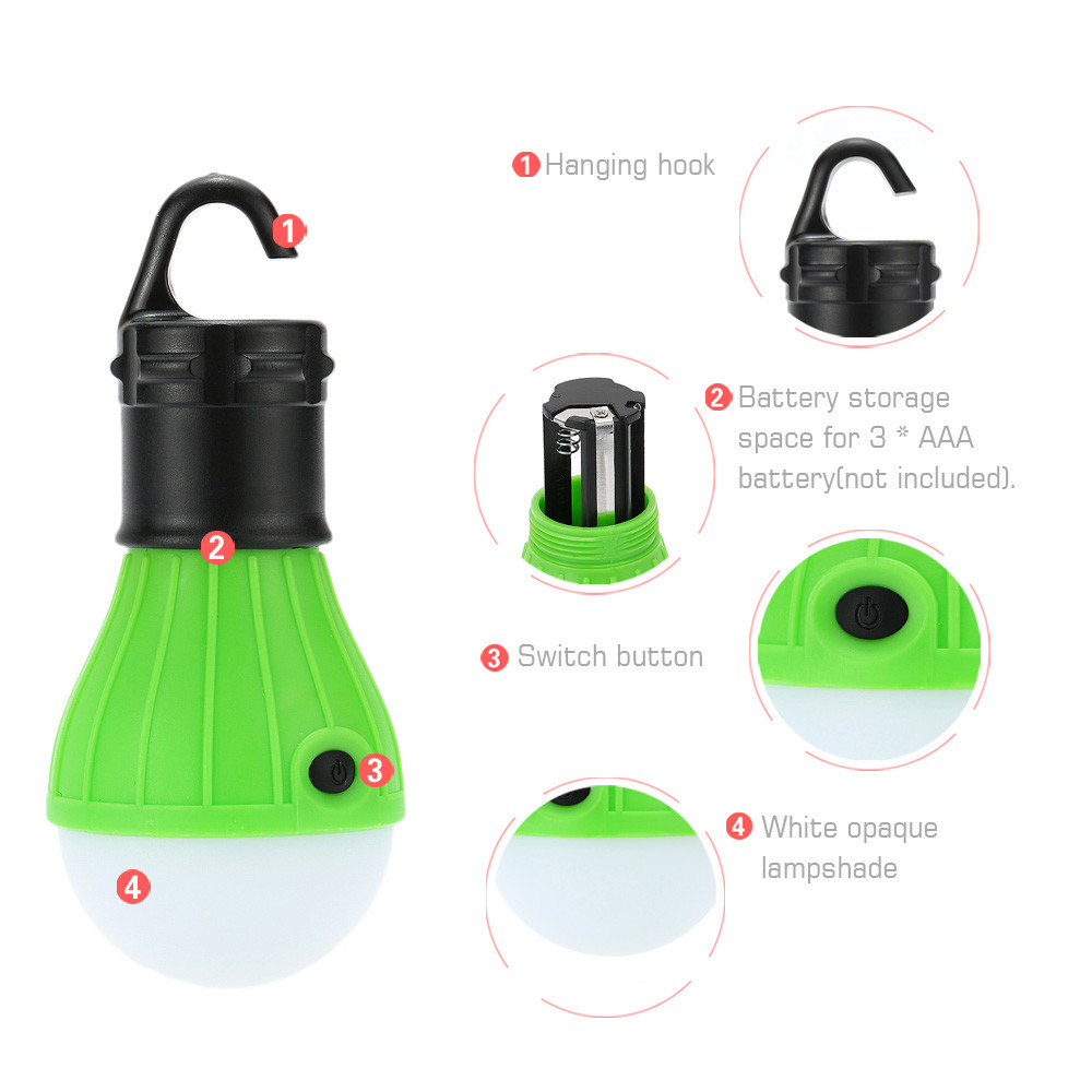 Outdoor Camping Lamp Tent Light Torch Flashlight Hanging Flat LED Light 3 Mode Adjustable Lantern AAA Battery ABS Plastic