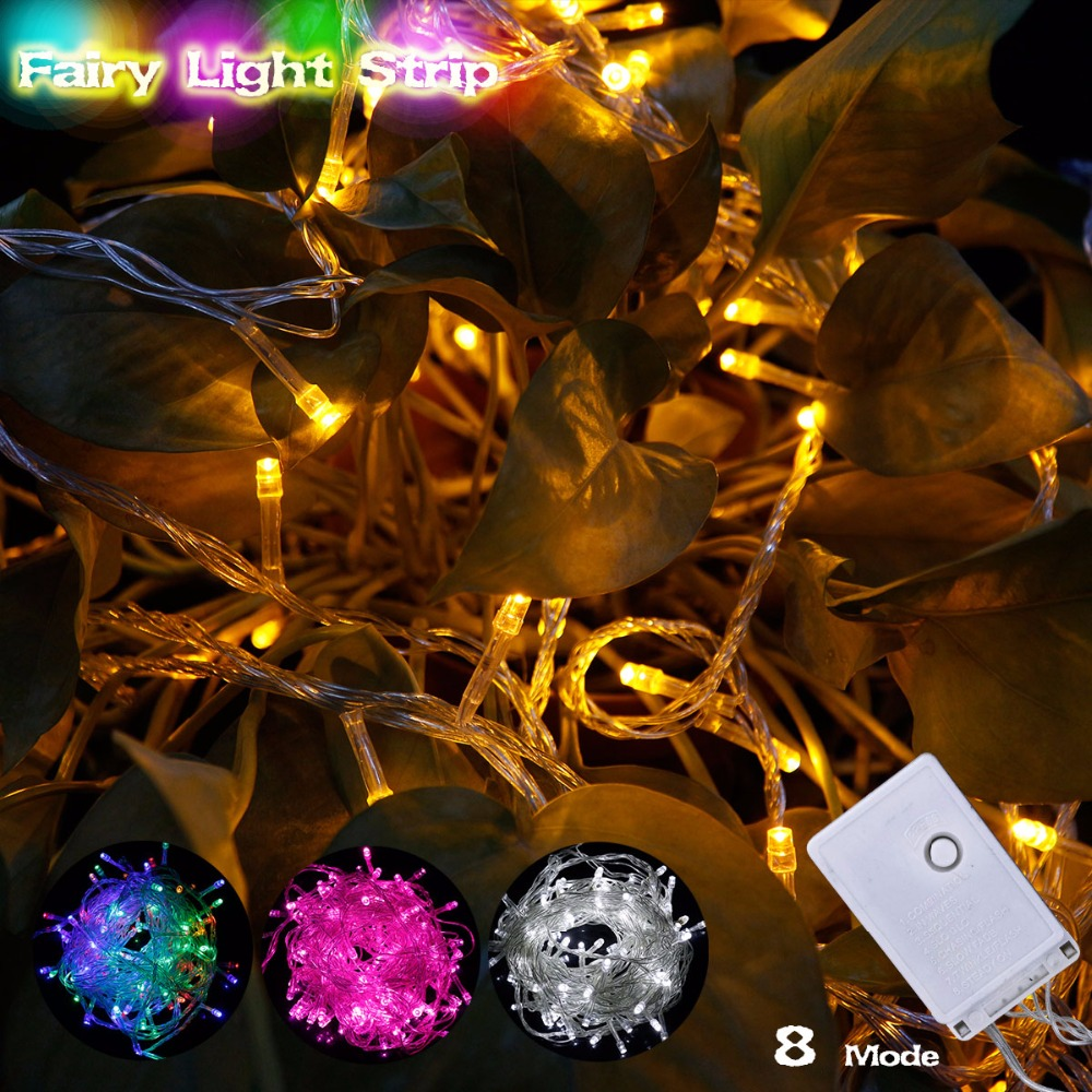 RGB LED Lighting Strings 10M 110V 220V 8 Modes Waterproof IP65 Christmas Garland Fairy Lights Outdoor Indoor Holiday Decoration