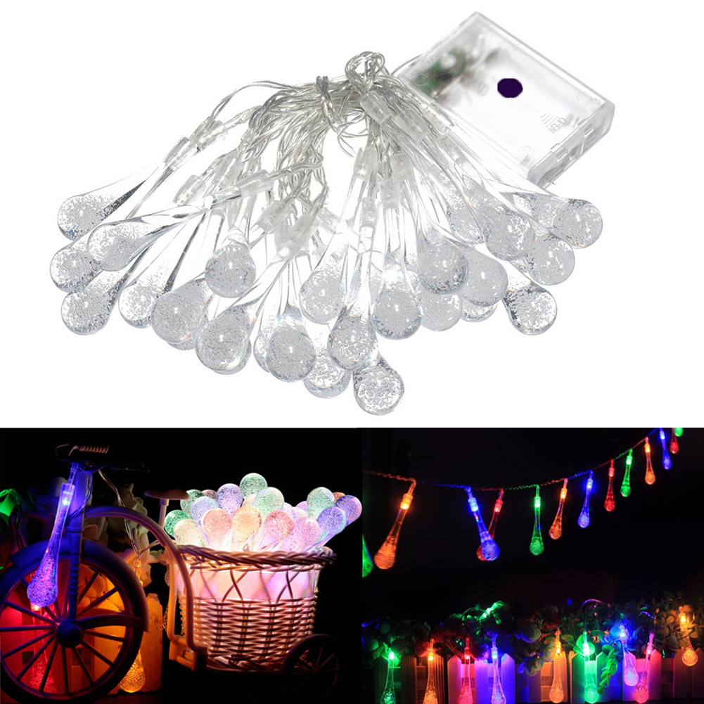 3M 20LEDs Colorful Raindrop Lamp Waterproof Christmas Holiday Outdoor Garden Decoration Fairy Battery String Lights