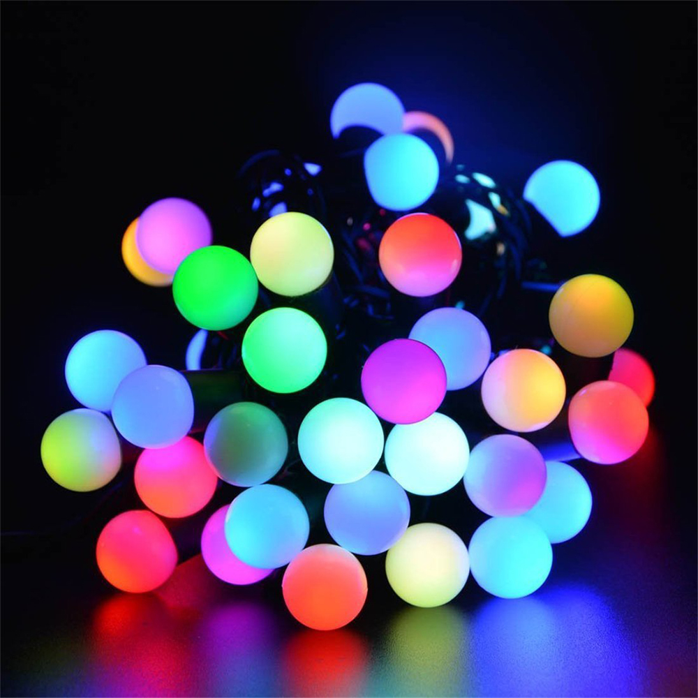 ITimo 7M Light String Solar Powered Flasher Ball String Home Garden Lawn Party Decorative Lighting 50 LED Christmas Light