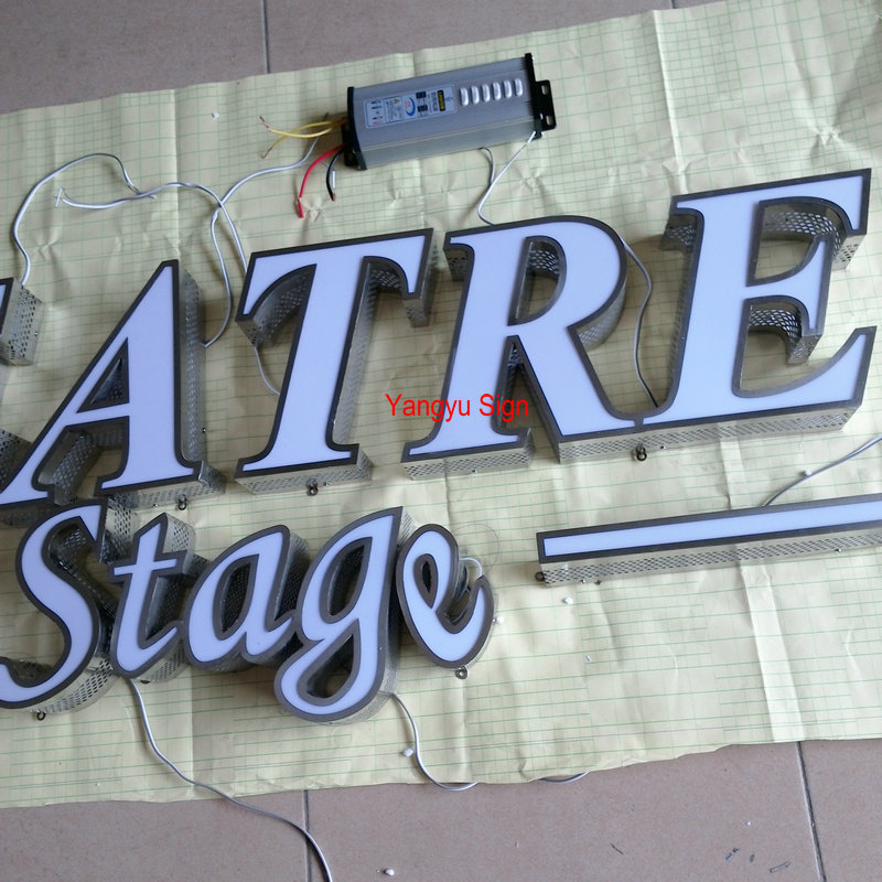 Outdoor Waterproof acrylic front lighting led logo sign letters for shop
