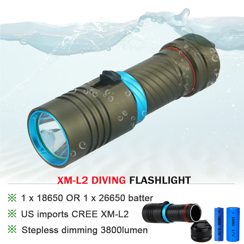 CREE XM L l2 5000lumens 18650 OR 26650 rechargeable batteries scuba diver Flashlight LED Torch Underwater Diving Light Lamp