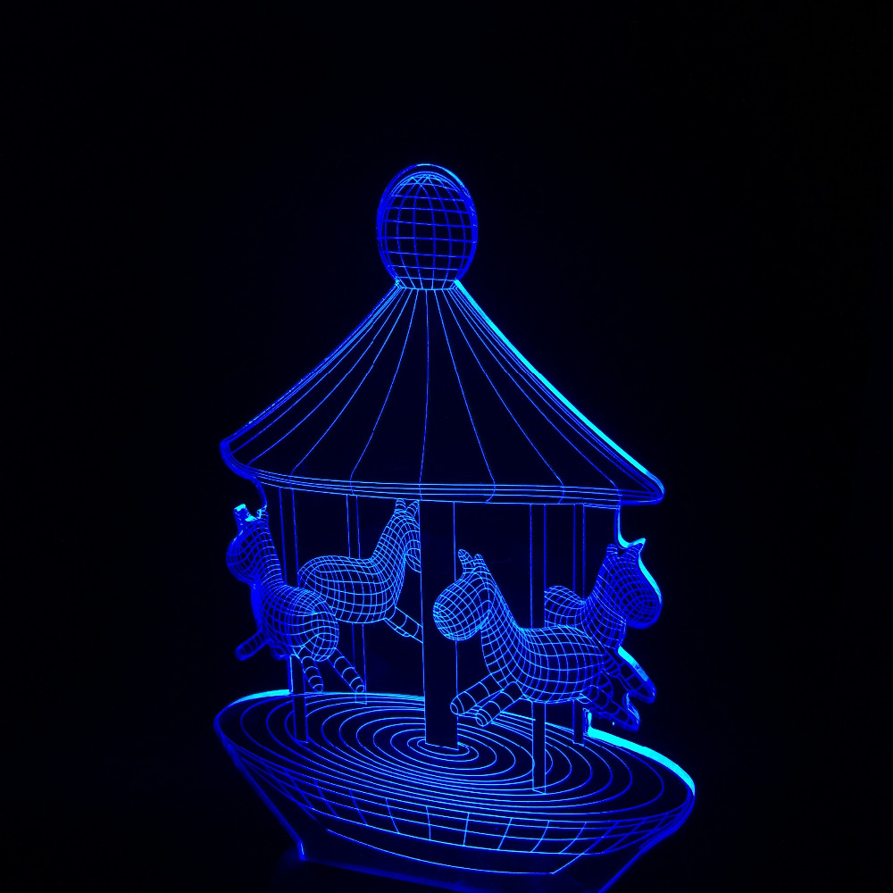 Creative 3D illusion Lamp LED Night Light Carousel Discoloration Colorful Atmosphere Lamp Novelty Lighting Baby Bedroom Gifts