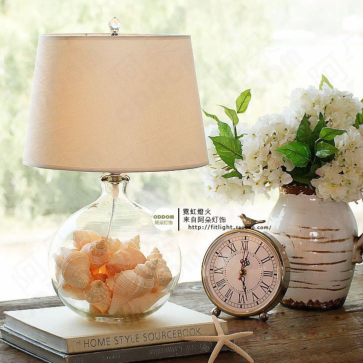 Glass table lamp American creative bedroom bedside lamp European style warm wedding room modern simple CL FG899