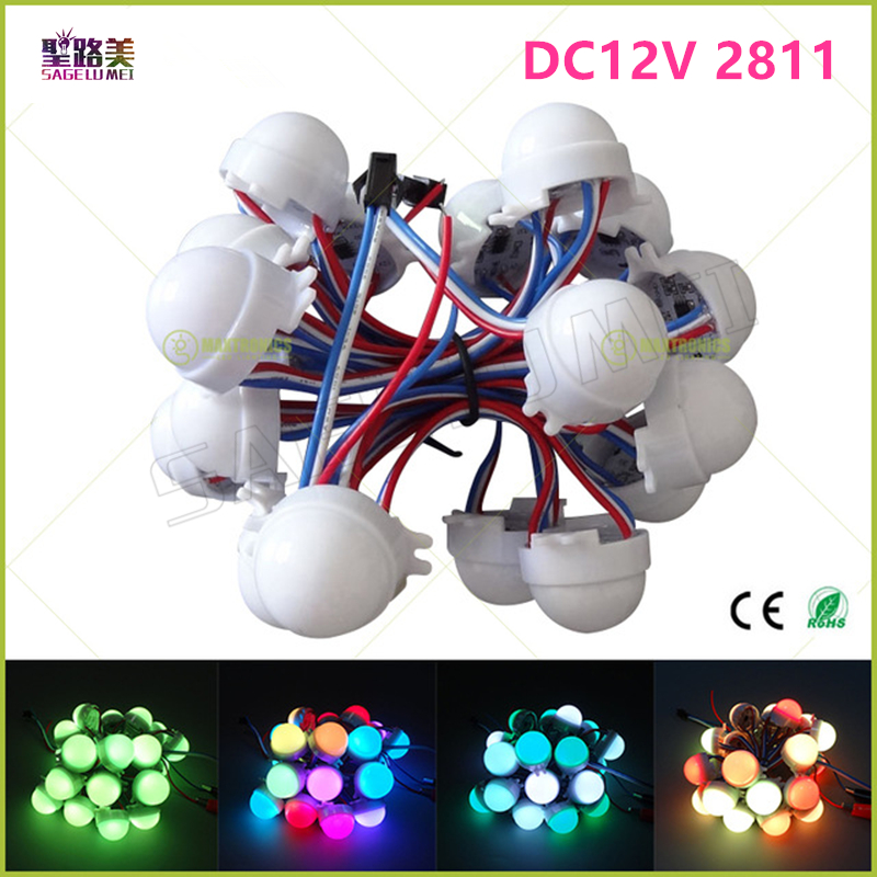 200pcs DC12V WS2811IC 30mm Diameter transparent /milky cover 3led 5050 RGB led Pixel Module Full Color led Point waterproof IP68