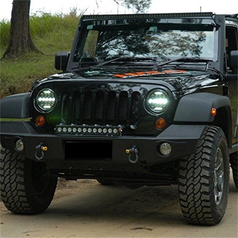 7 Inch Round 75W High/Low/DRL Led Headlight + 4 Inch 30W White Halo Wrangler Jk Fog Headlight + Tail Lights For Jeep Wrangler
