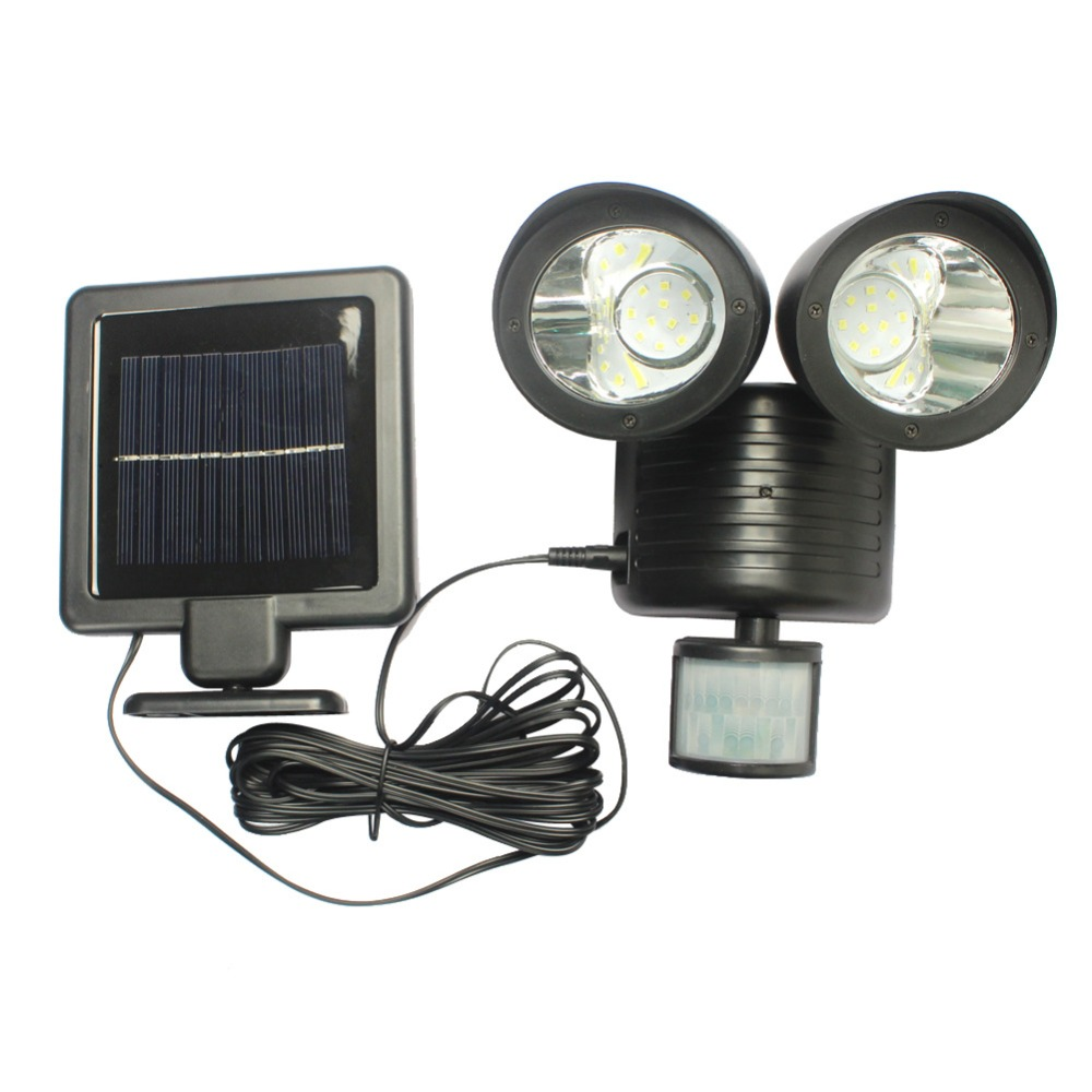 22 LED Solar Light PIR Motion Sensor Dual Head Light Garden Security Lamp Outdoor Waterproof paths Yard street Wall Light