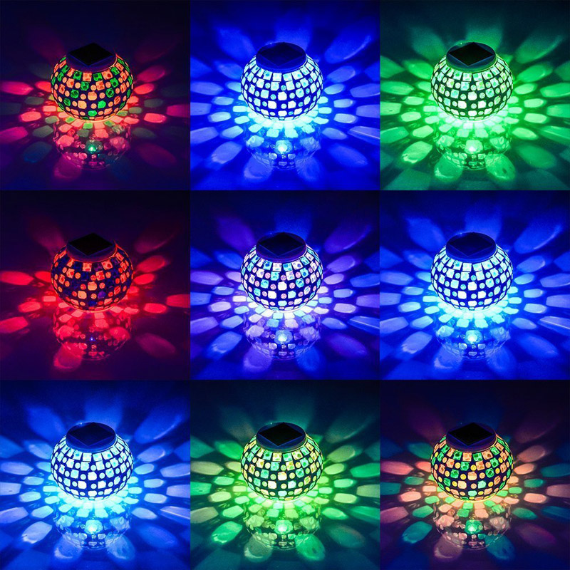 Outdoor Solar Ball Lights Waterproof Solar Powered Mosaic Glass Ball LED Garden Lights Color Changing Party Led Bulb Table Lamps
