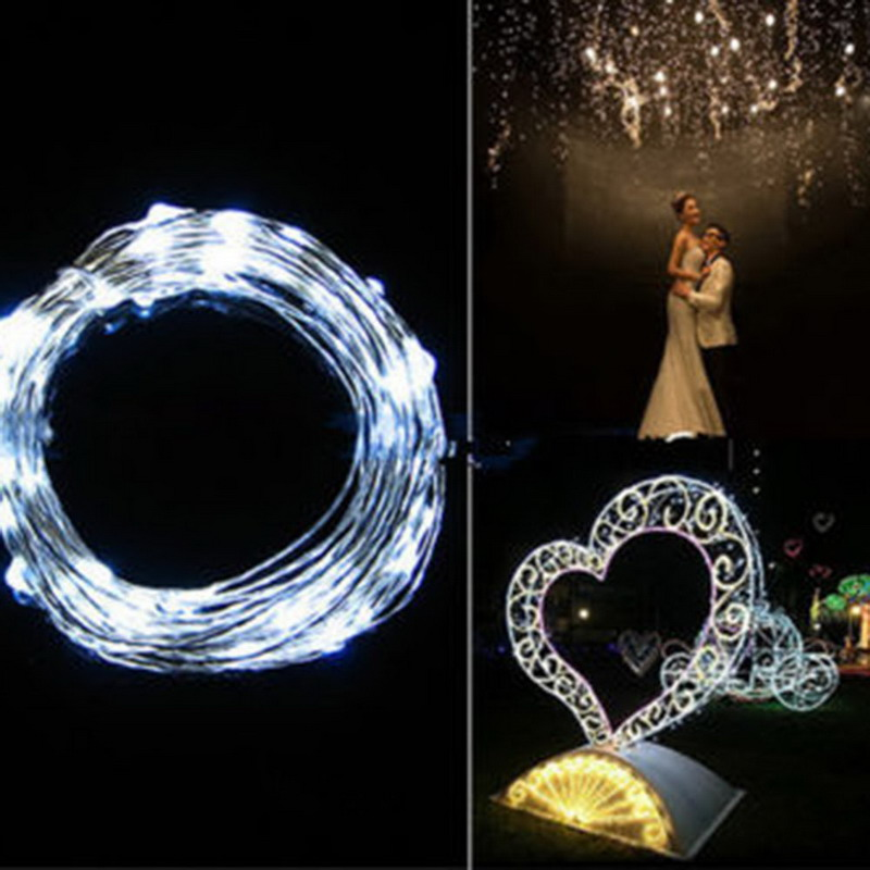 10M 100 LED Copper Wire String Lights Warm White LED Strings for Christmas Wedding Party Powered By 3 AA Battery VS019 P10 NO