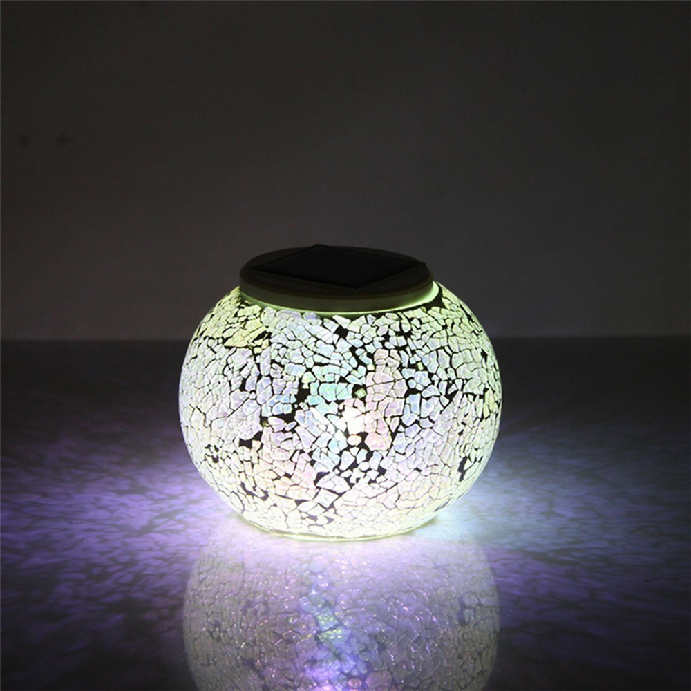 Romantic Design Changing Colour Crystal Glass LED Solar Lamp IP65 waterproof Sun Powered Table Garden Round Light Sun Light