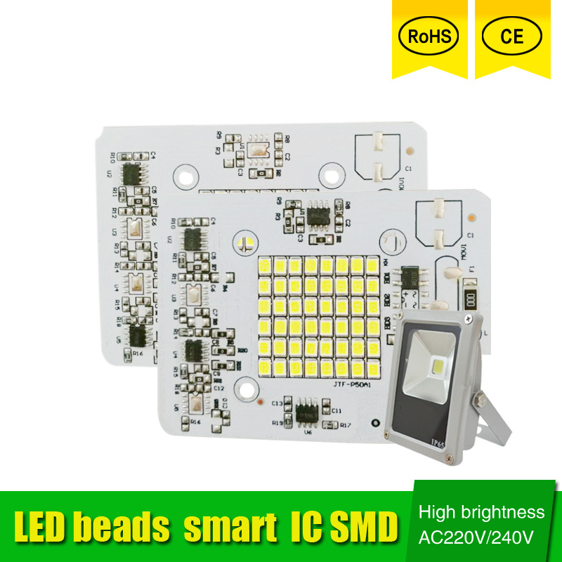 DIY LED SMD Chip Lamp 20W 30W 50W Light Chip 230V Input Directly Smart IC Fit For DIY LED FloodLight Cold White Warm White