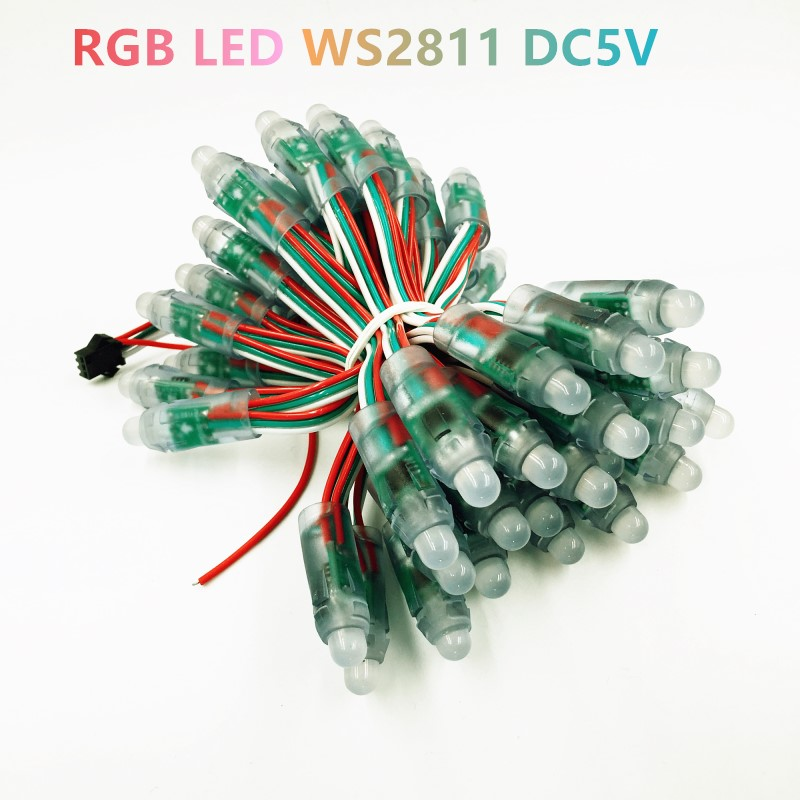 WS 2811 2801 Full Color LED Pixel Module DC5V 12mm Waterproof IP67 Point Lights For Advertisement 500pcs/ lot