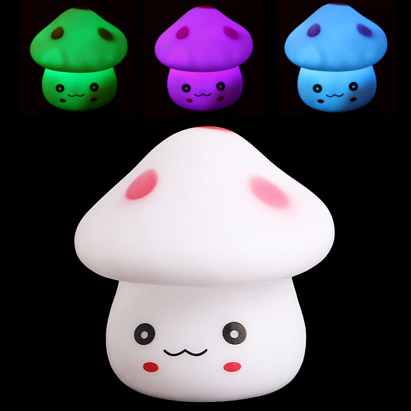 LED RGB 7 Color Dolphins Night Light Colorful Mushrooms Night Light elephants lamp eggs light gift for children baby bedroom P30