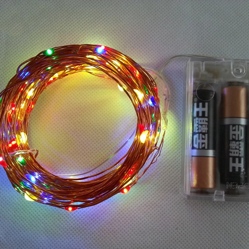 10M 100 LED Copper Wire String Lights Warm White LED Strings for Christmas Wedding Party Powered By 3 AA Battery