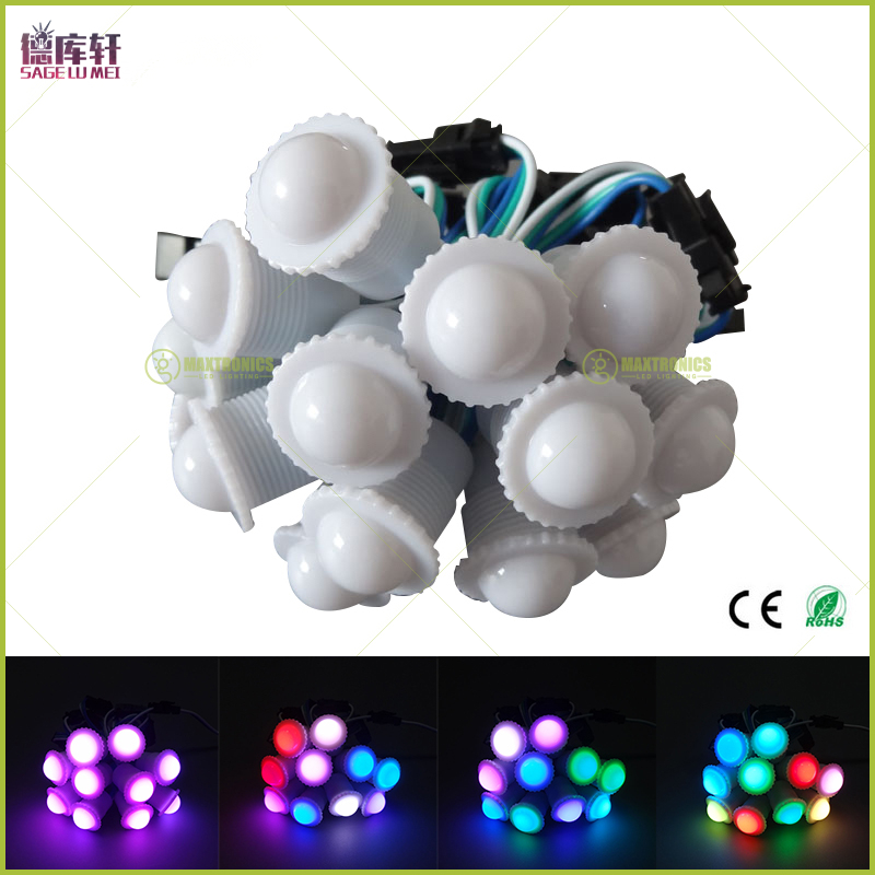 DC5V WS2811 IC 16mm Diameter transparent /milky cover 5050 RGB 1 LED Waterproof IP68 Pixels String Digital Color Module Light