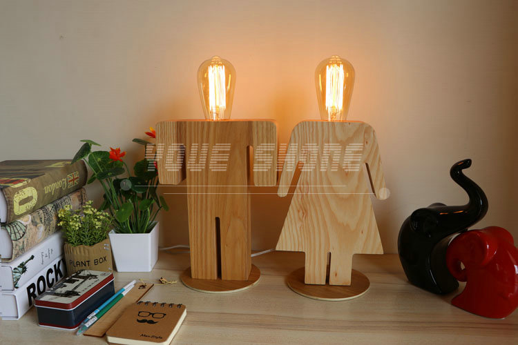 Boy & Girl sweethearts Wood Table lamps for restaurant cafe bar bedroom decoration
