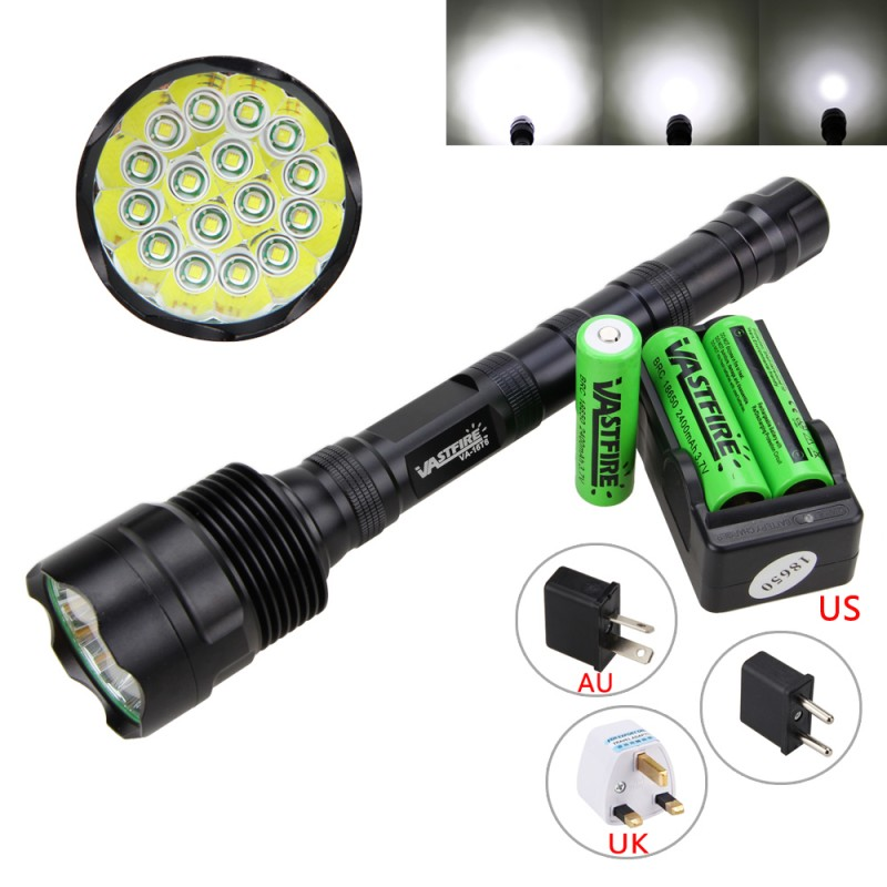 60000LM 16x XML T6 LED Flashlight 5Modes 18650 Tactical Camping Torch Lamp Light+18650 Battery+Charger