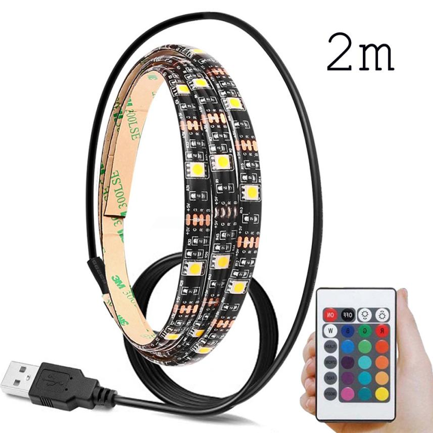 2017 2 meters New 60SMD/M RGB LED Strip Light Bar TV Back Lighting Kit+USB Remote Control