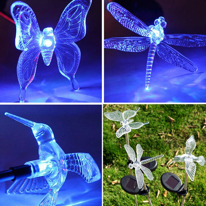 New Multicolor LED Solar Light Dragonfly/Butterfly/Bird Lawn Lamps Solar LED Path Light Outdoor Garden Lawn Landscape Lamp