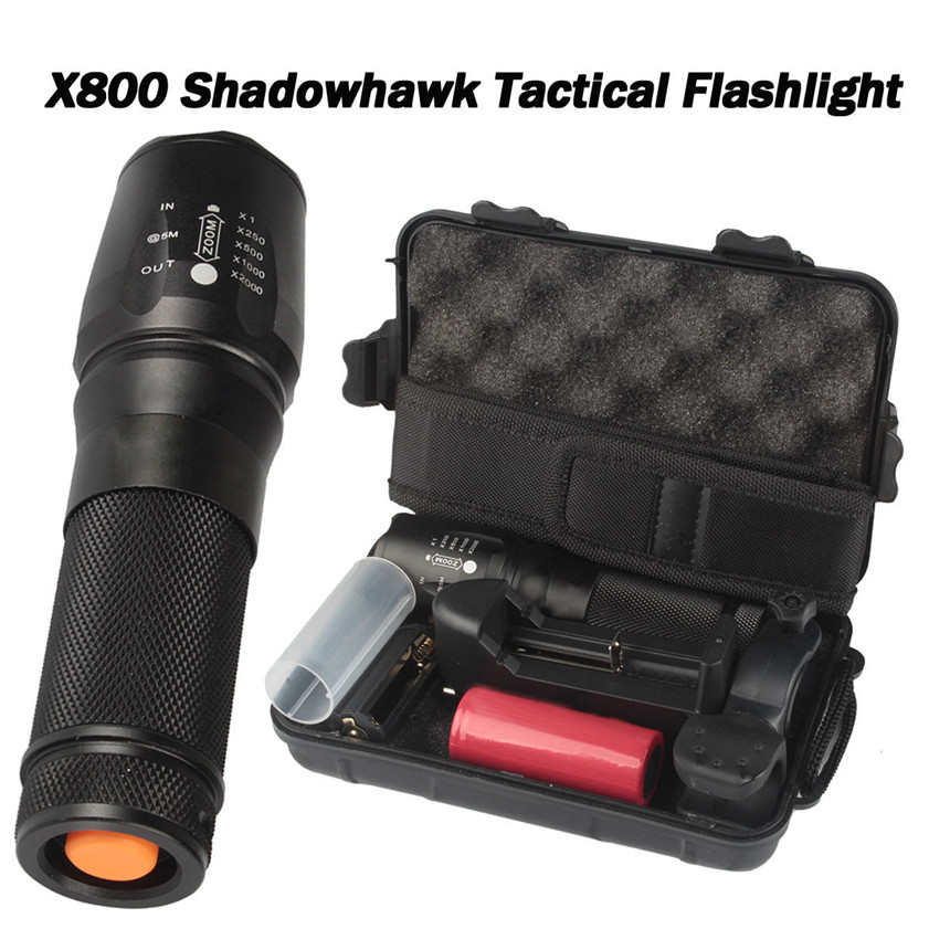 High Quality  6000lm Genuine SHADOWHAWK X800 Tactical Flashlight LED Zoom Military Torch G700