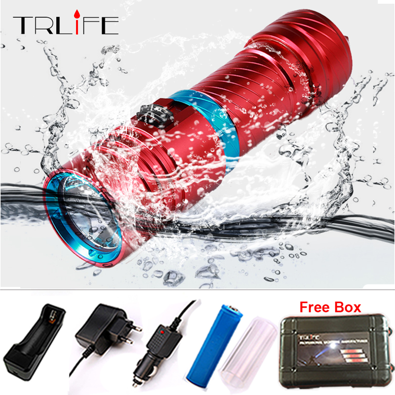 2017 5000LM CREE XM-L2 LED Waterproof Torch Flashlight Light Scuba 100m Underwater Diving Flash Lamp Torch 18650 FREE GIFT BOX