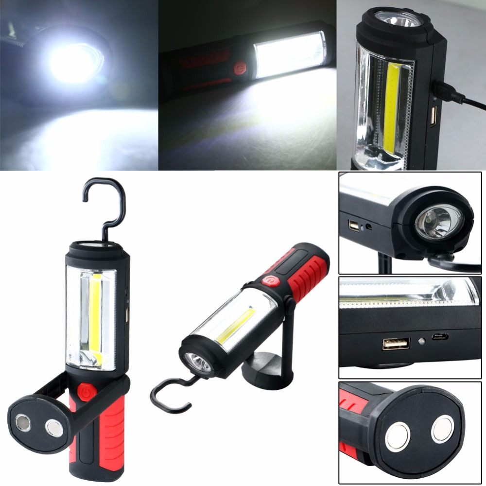 Powerful Portable 3000 Lumens COB LED Flashlight Magnetic Rechargeable Work Light 360 Degree Stand Hanging Torch ...