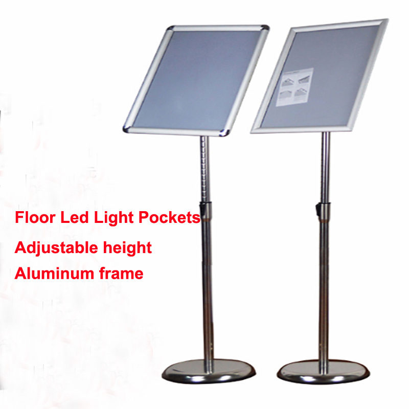 A3 Adjustable Pedestal Floor Stand Illuminated Poster Display with Snap-Open Frame,Led Advertising Lightbox