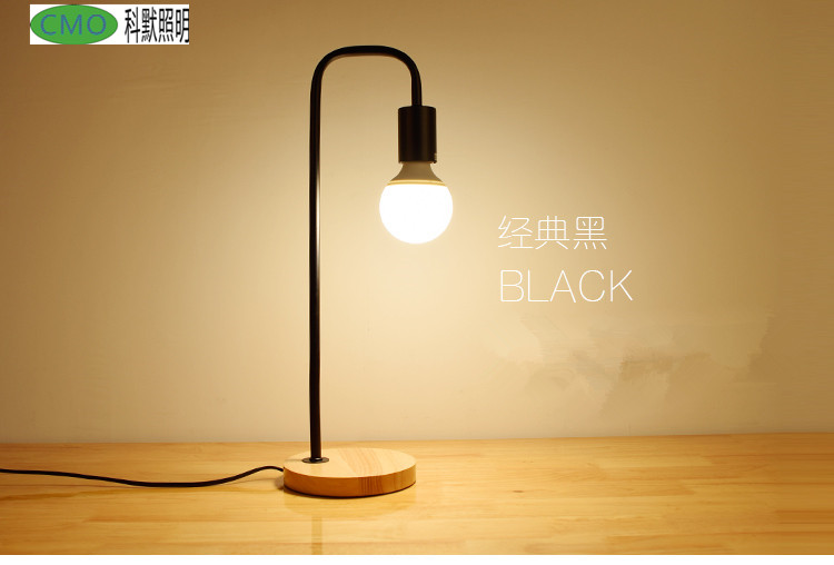 Loft Vintage Desk Lamp with 2 Colors Traditional American Countryside Wooden Iron Edison Table Lamps Nordic Metal Table Fixtures