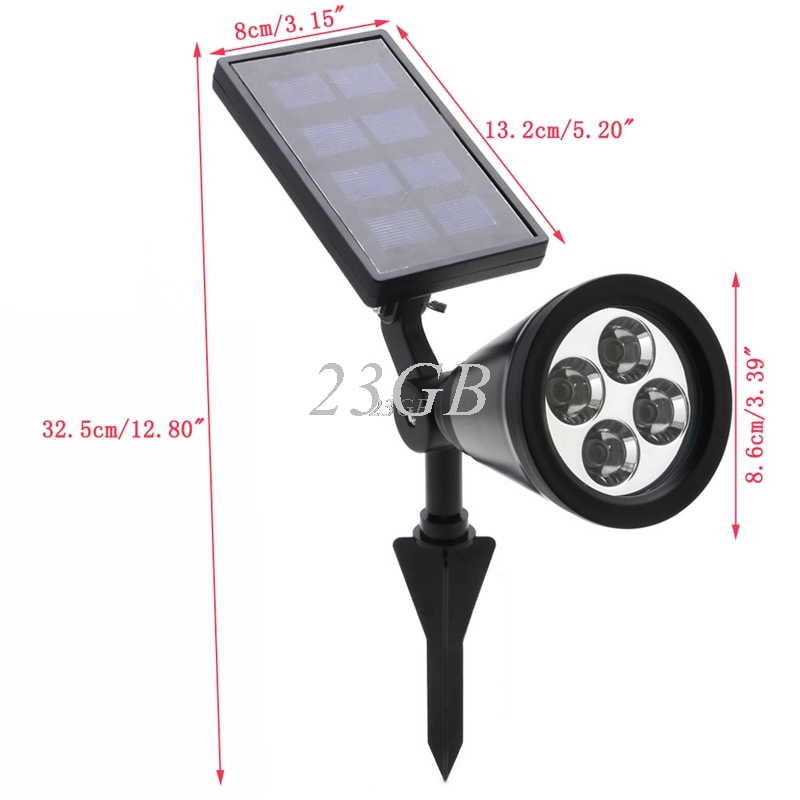 Solar Spotlight Light Lawn Lamp 4LED Landscape Spot Light Garden Outdoor MAY05_25