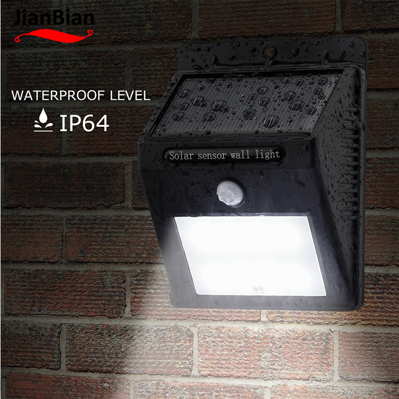 JianBian LED Solar Light Human induction + light control Waterproof Power Garden LED Solar Outdoor ABS Porch Wall Lamp1W