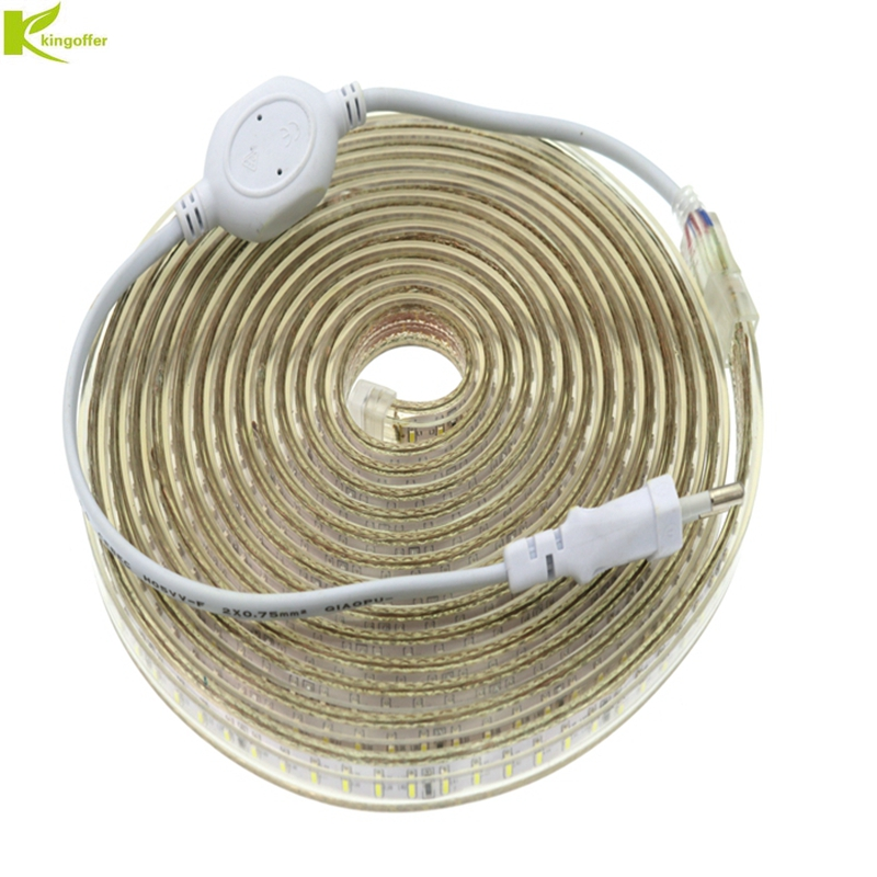 Kingoffer 1M~ 25M SMD 3014 AC 220V Led Strip Tape Waterproof Flexible Bar Light 120 Led/M With EU Plug Outdoor Garden Decor