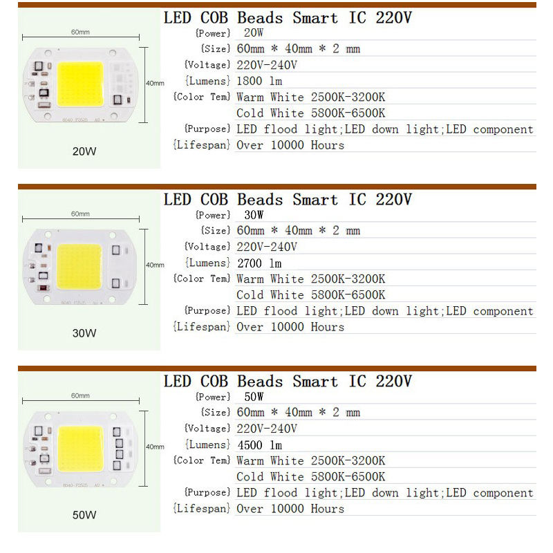 5pcs 20W 30W 50W LED Floodlight COB Chip 220V Input Integrated Smart IC Driver NEW