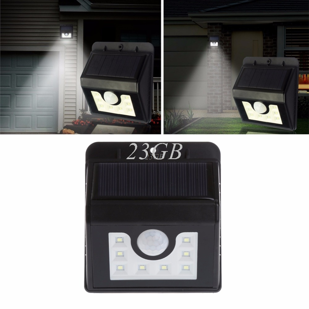 2017 NEW Solar Power Wireless Security Motion Sensor Light Outside Wall Lamp White 8LED MAY06_25